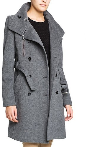 Military style wool-blend trench coat