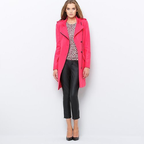 Wool Mix Coat with Asymmetric Zip Fastening