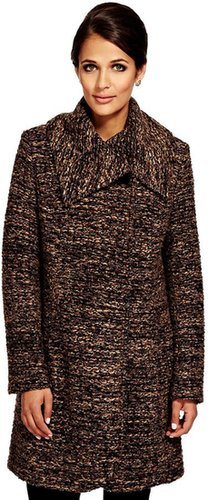 Per Una Large Collar Textured Coat with Wool
