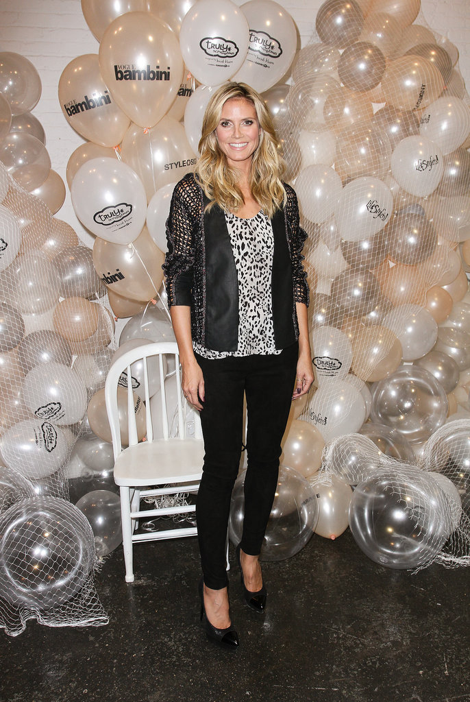 Heidi Klum led the petiteParade of her Truly Scrumptious models in edgy separates.