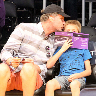 Will Ferrell Kissing His Son at a Lakers Game | Photos