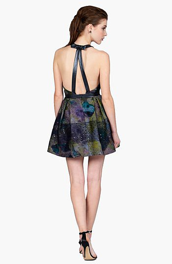 Phoebe by Kay Unger Faux Leather Trim Print Fit & Flare Dress ($298)