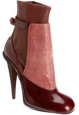 Fendi Shagreen Panel Ankle Boot