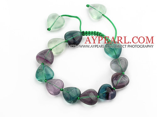 Green Series Heart Shape Rainbow Fluorite Knotted Adjustable Drawstring Bracelet