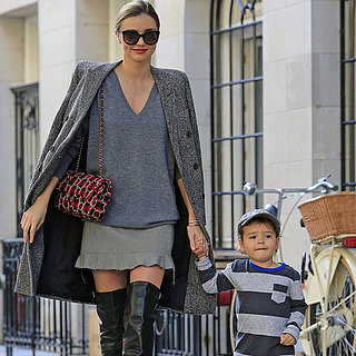 Miranda Kerr Wearing Thigh-High Boots With Son Flynn