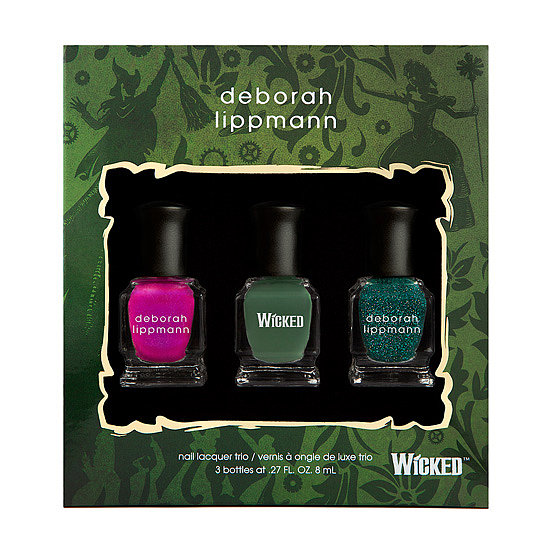 Wicked the musical celebrates its 10th anniversary this month, and as a huge fan of the production, Deborah Lippmann commemorated the show with a limited-edition set ($29) with three colors inspired by songs from the show. Wear them alone, or mix them up with a little nail art.