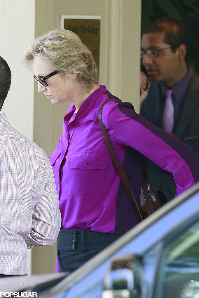 Jane Lynch arrived at the Four Seasons hotel.