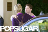 Matthew Morrison and Jane Lynch embraced outside the hotel.