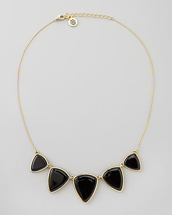 House of Harlow Reversible Golden/Black Onyx Geometric Necklace