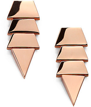 Eddie Borgo Tiered Triangle Earrings/Rose Gold