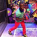 Kevin Hart sported a colorful outfit on the set.