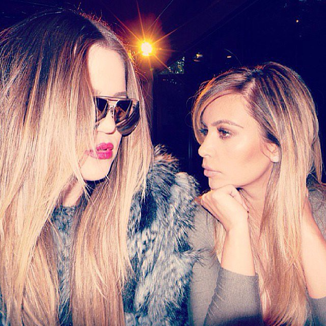 "Kim and Khloe Kardashian shared a ""serious sister moment."" Source: Instagram user kimkardashian"