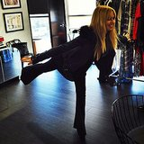 Rachel Zoe showed off her balancing skills during a business meeting. Source: Instagram user rachelzoe