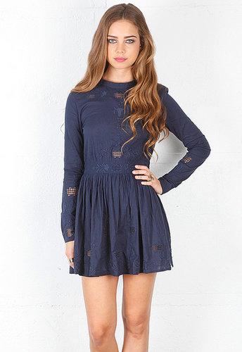 One Teaspoon Nirvana Long Sleeve Dress in Navy