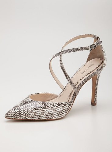 Pour La Victoire Cheyenne Snakeskin Embossed Leather Ankle Strap Pump
