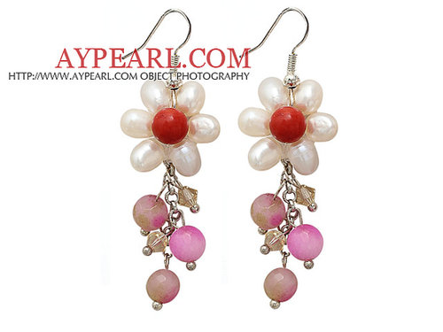 White Freshwater Pearl Crystal and Red Coral and Pink Jade Dangle Earrings