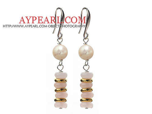 Fashion Style White Freshwater Pearl and Rose Quartz Dangle Earrings