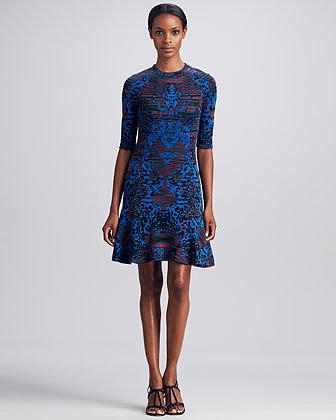 M Missoni Intarsia Fit & Flare Dress