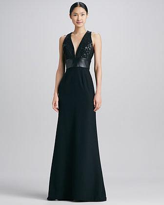 Carmen Marc Valvo Leather-Waist Halter Gown