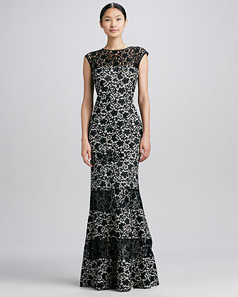 Kay Unger New York Floral Lace-Panel Flared Gown