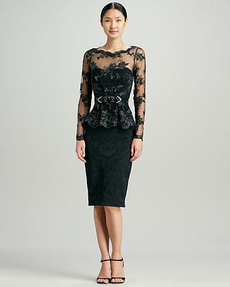 Badgley Mischka Collection Lace Peplum Brocade Cocktail Dress