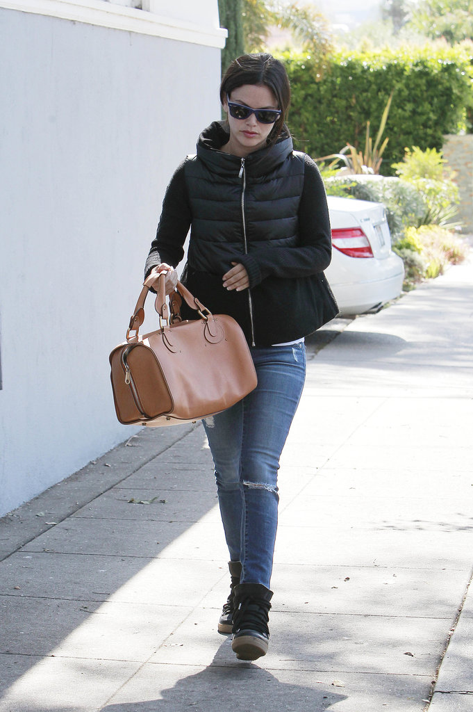 Rachel Bilson bundled up in a puffy coat.