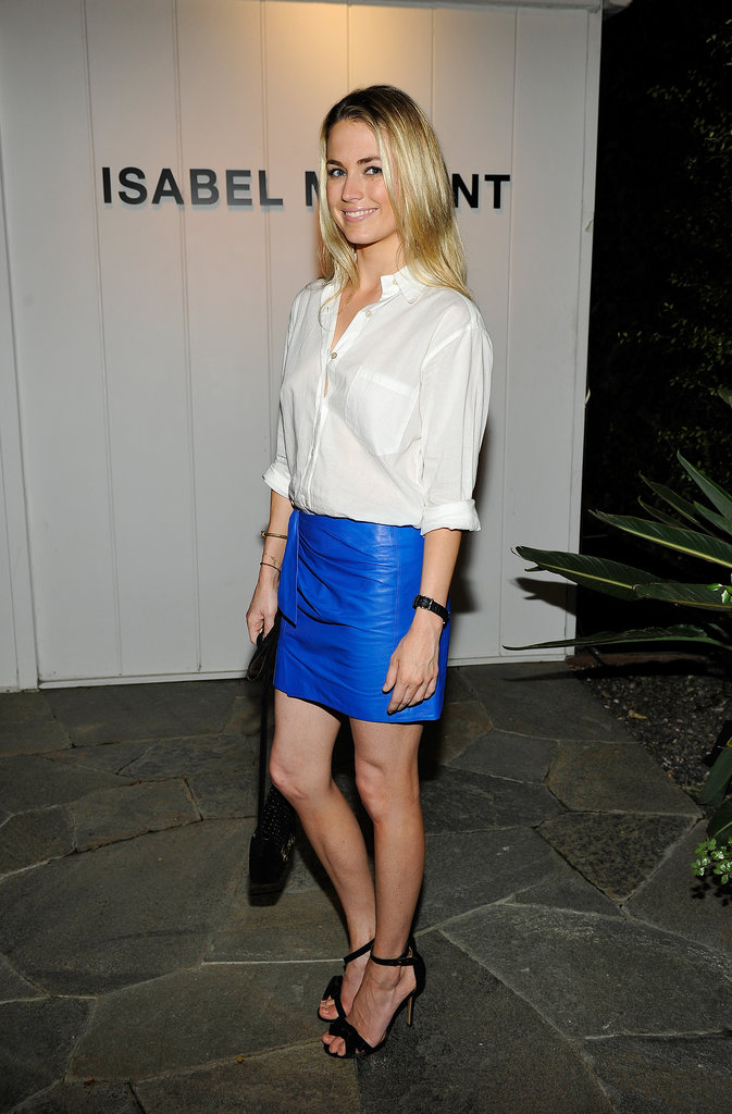 Amanda Hearst looked electric in her bright blue skirt at the Isabel Marant barbecue.