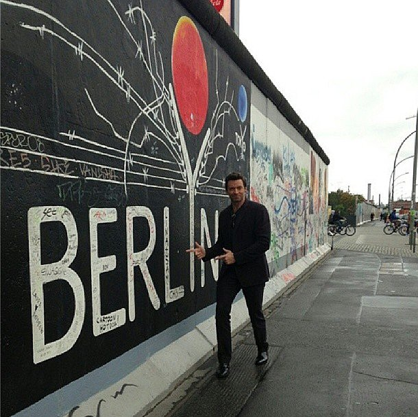 The mural's nice, but it's got nothing on Hugh Jackman in his slim black suit. Source: Instagram user hughjackman
