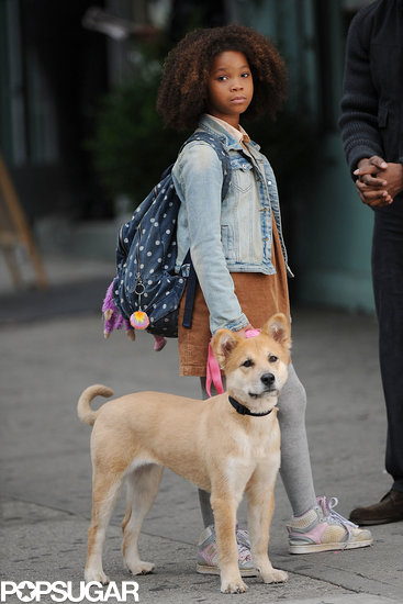 Quvenzhané Wallis filmed a scene for Annie in NYC.
