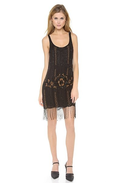 Start with an amazing beaded dropwaist dress, like this Haute Hippie style ($795) — it's got a great shape not to mention lots of movement for a night spent doing the Charleston.