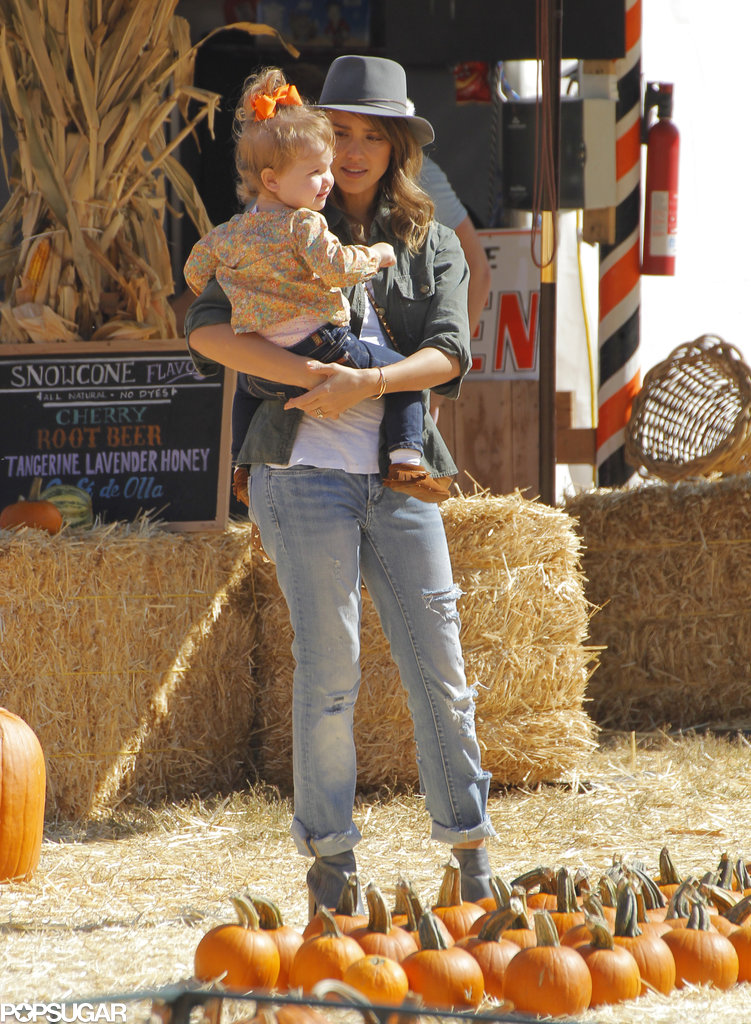 Jessica Alba Preps For Halloween With a Trip to the Pumpkin Patch