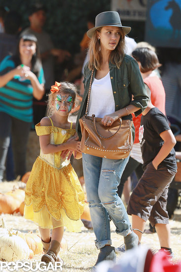 Jessica Alba brought her daughter Honor Warren to the pumpkin patch in LA.