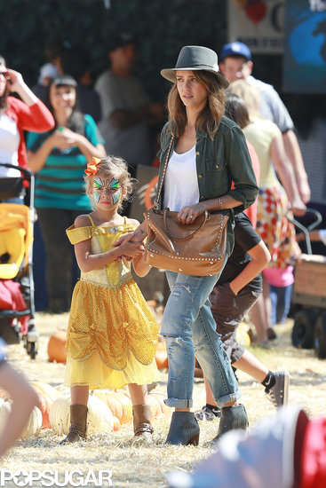 Jessica Alba and Honor Warren walked around the Mr. Bones Pumpkin Patch in LA.