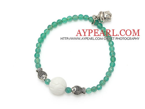 elegant round green agate white sea shell and tibet silver buddhu head fish charm beads bracelet