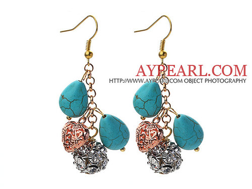 Assorted Teardrop Shape Turquoise and Heart Shape Metal Accessories and Rhinestone Earrings