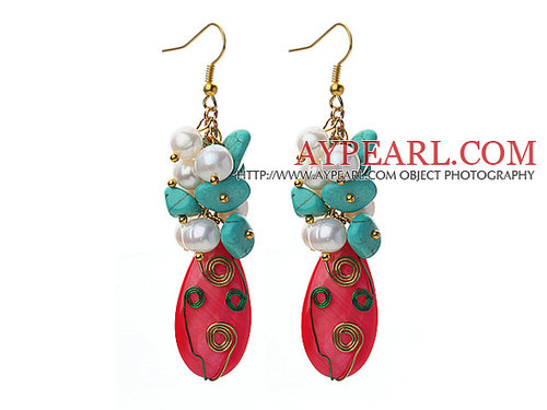 Assorted Turquoise and White Freshwater Pearl and Hot Pink Shell Earrings