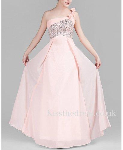Light Pink Chiffon Floral One Shoulder Long Evening Dress XZ052