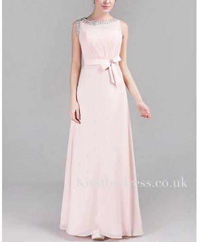 Light Pink Chiffon Round Neck Column/Sheath Long Evening Dress XZ028