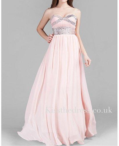 Summer Pink Sweetheart Chiffon Empire Long Evening Dress XZ045