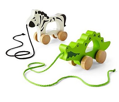 giggleBABY Zebra and Alligator Wooden Push & Pull Toys ($20)