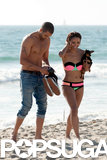 Kat Graham showed off her bikini body on the beach with her shirtless fiancé, Cottrell Guidry.