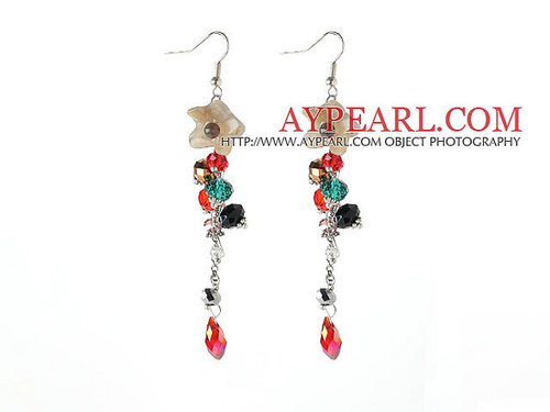 New Design Assorted Multi Color Crystal and Agate Flower Long Earrings