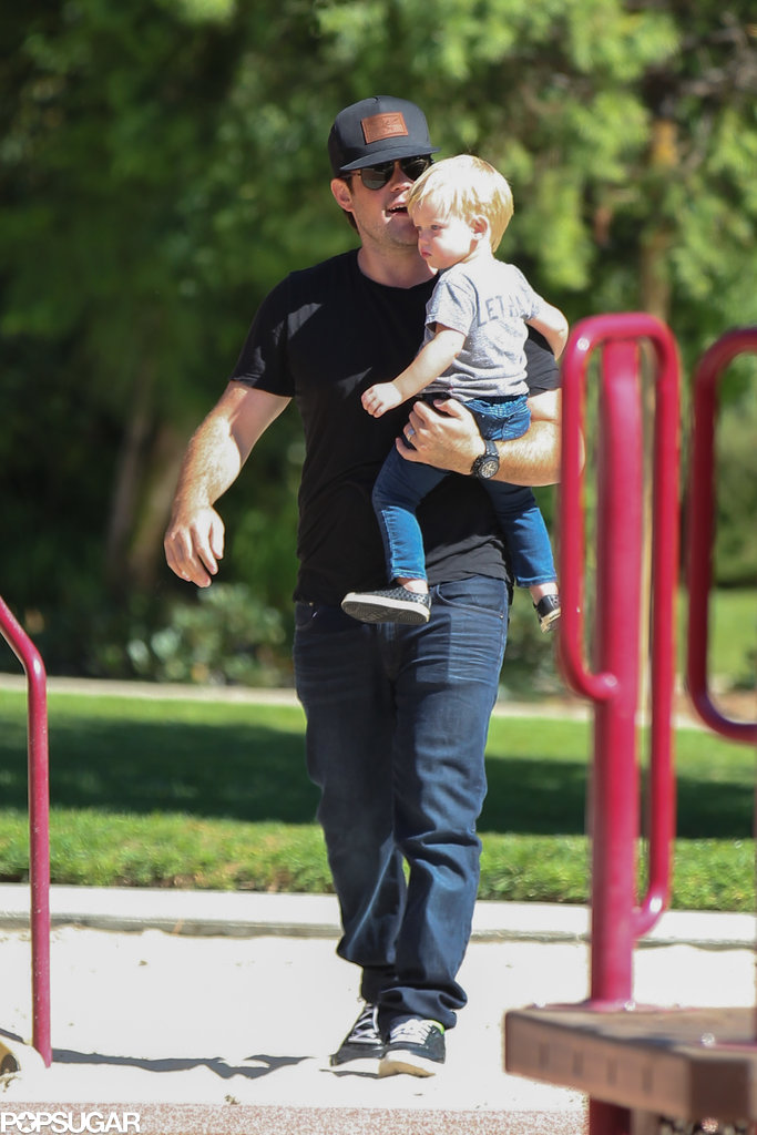 Mike Comrie had a playdate at a park in LA with his son, Luca.