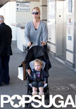 January Jones arrived at LAX with her son, Xander, on Saturday.