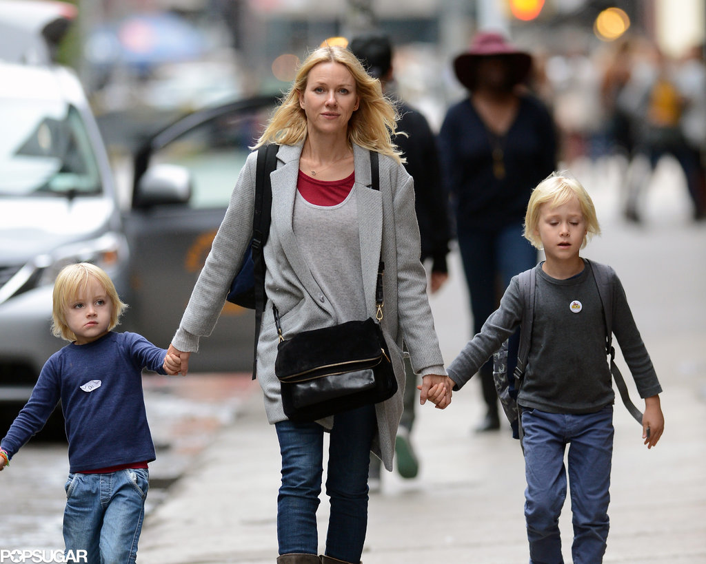 Naomi Watts and her boys walked home from school on Friday in NYC.