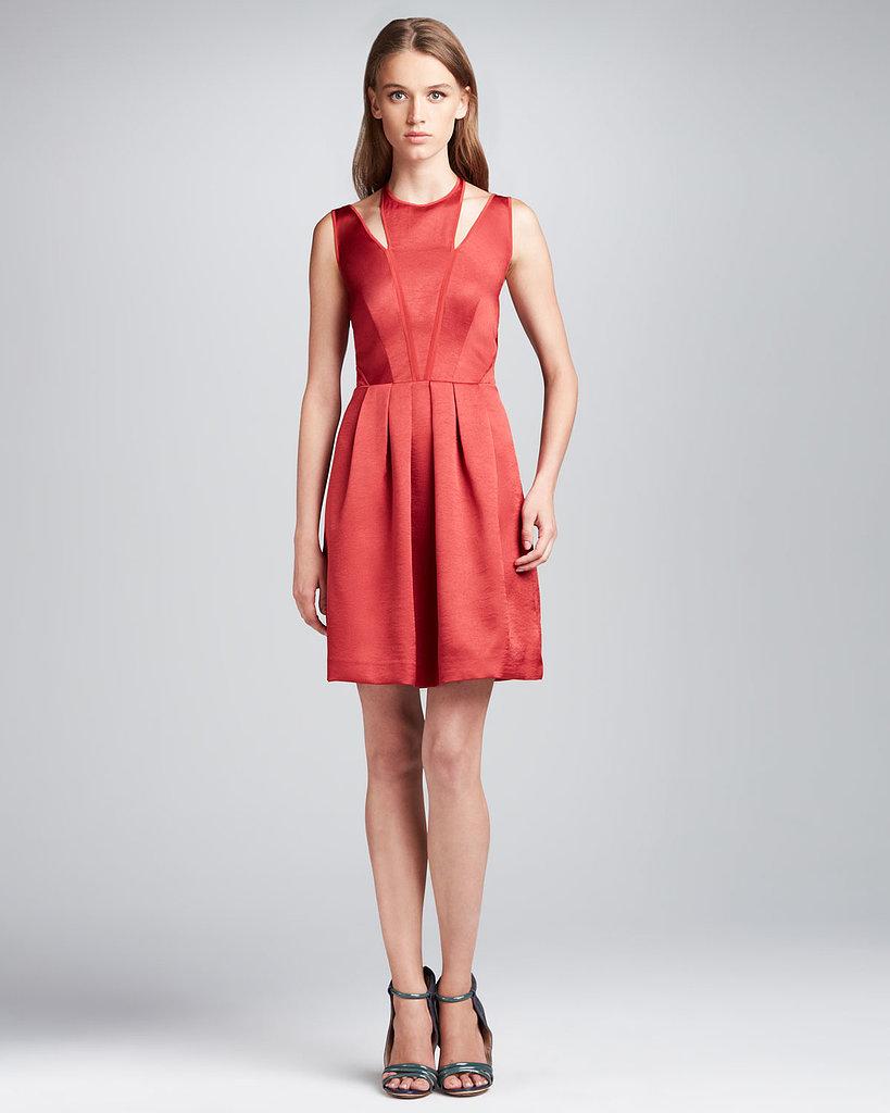 With Rebecca Taylor's pleasted satin cutout dress ($425) you're getting a classic cut with a killer neckline.