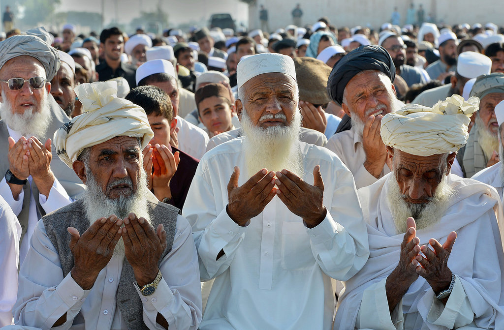 Afghan refugees prayed for Eid al-Adha just outside Peshawar, Pakistan.