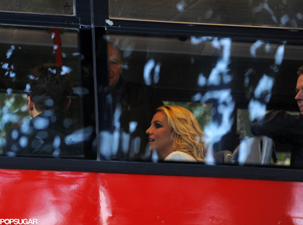 Britney Spears rode a double-decker bus.