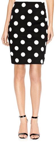 Polka Dot Ponte Pencil Skirt