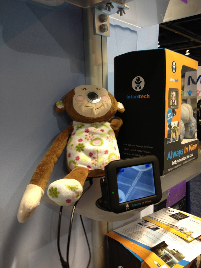 "The ""Always in View"" Baby Monitor For Cars is a wireless video monitoring system designed to help parents keep an eye on rear-facing tots. It places a camera in the nose of a stuffed animal, while a GPS-style monitor mounts on the car's dashboard."